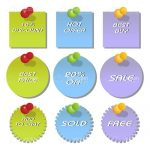 Lime, Blue and Purple Sale and Discount Tags 6 Pack